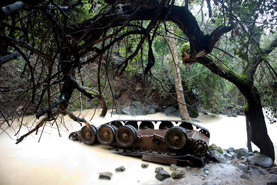 A Syrian tank lies turned over in the Banias Nature Reserve in the Israeli-occupied Golan Heights, Feb. 27, 2019. Israel captured the area, a former demilitarized zone, in the 1967 Six Day War. (Photo: Ronen Zvulun/Reuters)