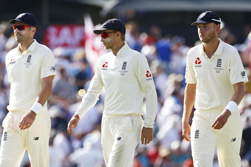 Tough times | Jimmy Anderson, Joe Root and Stuart Broad in the field: Jason O'Brien/PA Wire