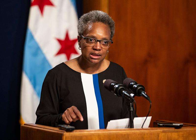 Mayor Lori Lightfoot holds a press conference at City Hall in Chicago on May 31, 2019.
