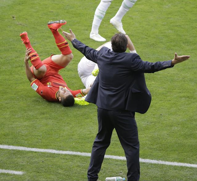 Belgium's head coach Marc Wilmots reacts as Belgium's Eden Hazard grimaces in pain after colliding with an Algerian player during the group H World Cup soccer match between Belgium and Algeria at the Mineirao Stadium in Belo Horizonte, Brazil, Tuesday, June 17, 2014. (AP Photo/Sergei Grits)