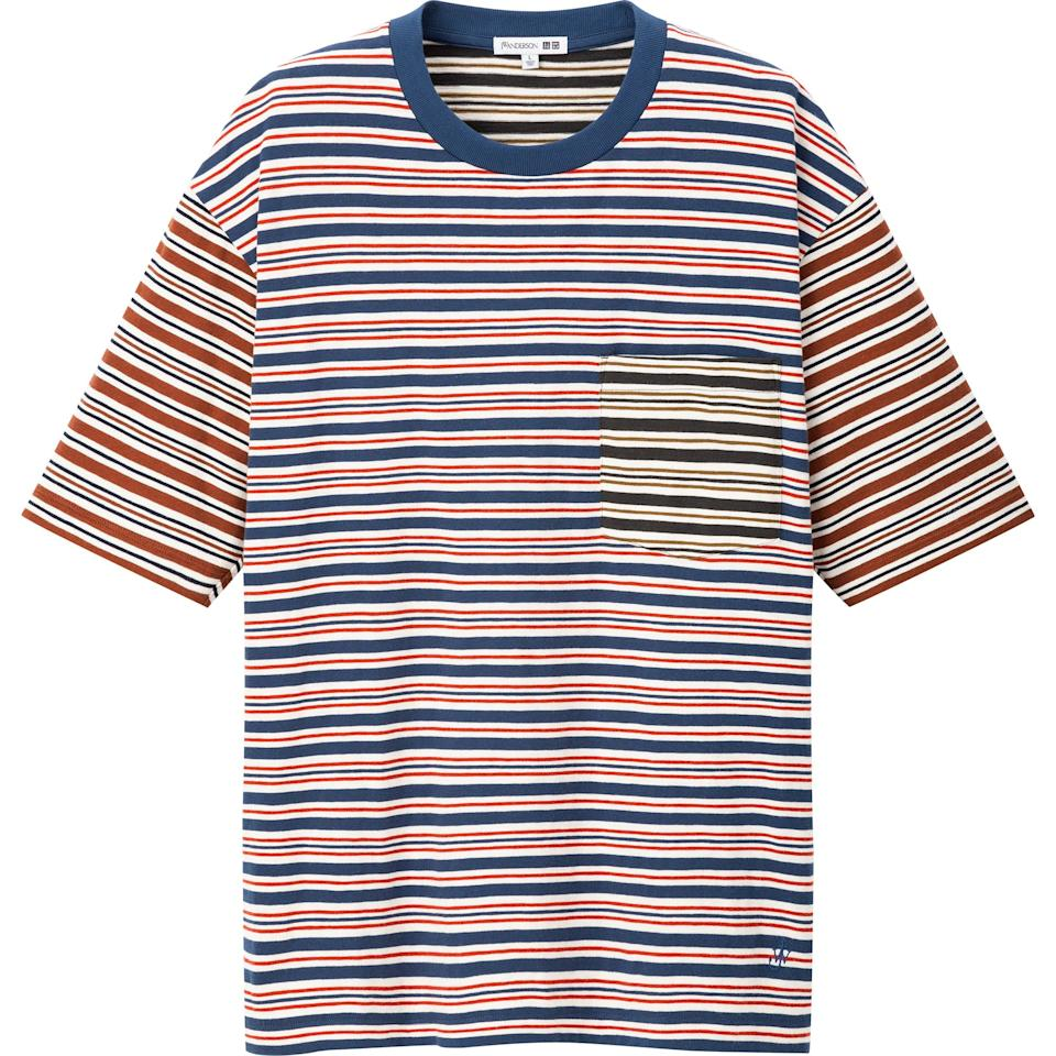 """<p><strong>Uniqlo x JW Anderson</strong></p><p>uniqlo.com</p><p><strong>$19.90</strong></p><p><a href=""""https://go.redirectingat.com?id=74968X1596630&url=https%3A%2F%2Fwww.uniqlo.com%2Fus%2Fen%2Fmen-striped-short-sleeve-t-shirt-jw-anderson-428886.html&sref=https%3A%2F%2Fwww.esquire.com%2Fstyle%2Fmens-fashion%2Fg31439406%2Funiqlo-jw-anderson-spring-2020-collection%2F"""" target=""""_blank"""">Buy</a></p><p>A short-sleeve tee with serious retro appeal.</p>"""