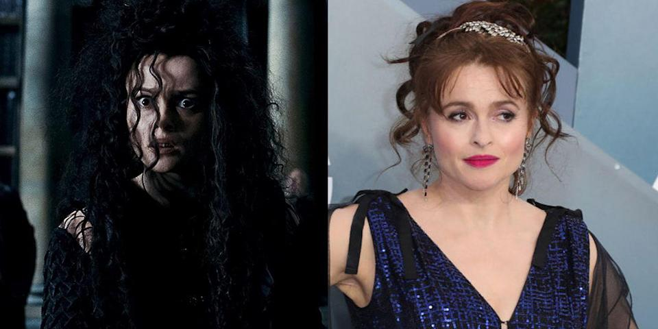 """<p><strong>First Film: </strong><em>Harry Potter and the Order of the Phoenix</em></p><p><strong>Character Played: </strong>Bellatrix Lestrange</p><p><strong><strong>Age: </strong></strong>53</p><p>Carter's latest acclaimed role in <a href=""""https://www.oprahdaily.com/entertainment/tv-movies/g29890469/helena-bonham-carter-movies-list/"""" rel=""""nofollow noopener"""" target=""""_blank"""" data-ylk=""""slk:her decade-spanning career"""" class=""""link rapid-noclick-resp"""">her decade-spanning career</a> is as Princess Margaret in <a href=""""https://www.oprahdaily.com/entertainment/tv-movies/a29805777/the-crown-season-3-ending/"""" rel=""""nofollow noopener"""" target=""""_blank"""" data-ylk=""""slk:Netflix's The Crown."""" class=""""link rapid-noclick-resp"""">Netflix's <em>The Crown</em>.</a><br></p>"""