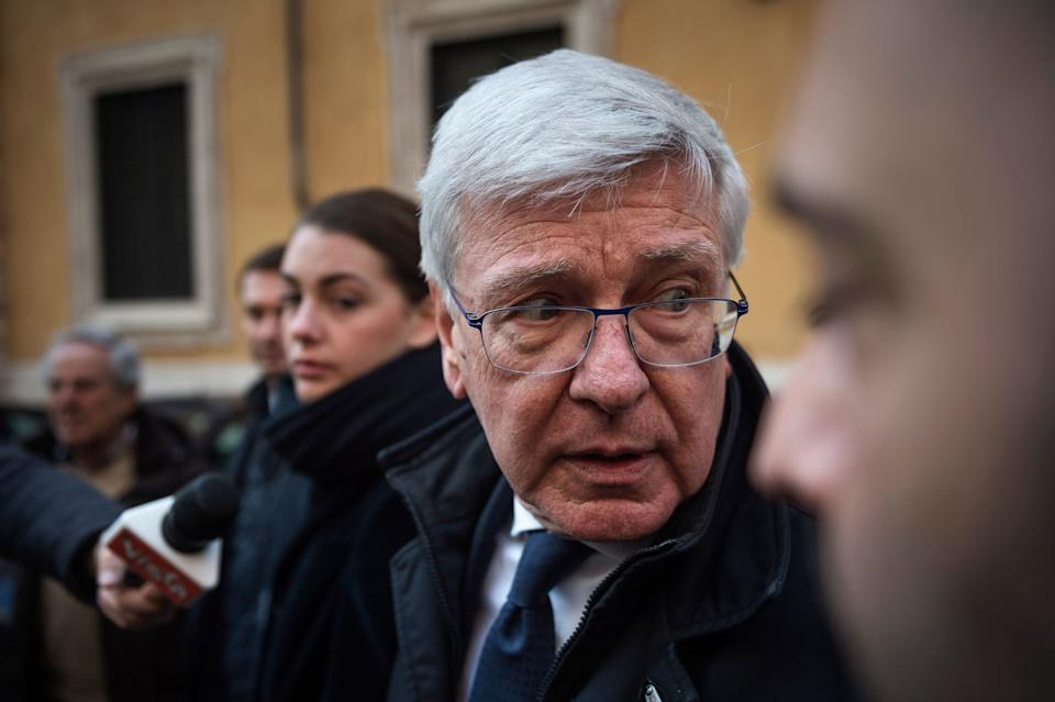 ROME, ITALY - MARCH 24: Paolo Romani (C) of Forza Italia political party, speaks with journalists after the election of Italian Senate President on March 24, 2018 in Rome, Italy. (Photo by Antonio Masiello/Getty Images) (Photo: Antonio Masiello via Getty Images)