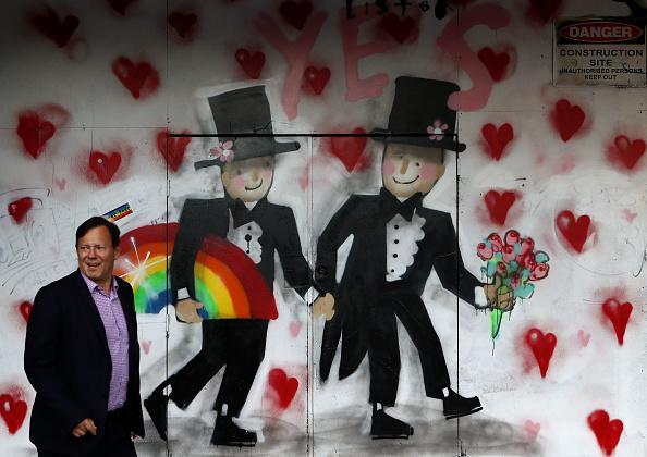 A pedestrian walks past a graffiti celebrating same-sex marriage in Sydney, Australia. The Marriage Amendment Bill was passed on Dec. 7, the final day of parliament in 2017. The legislation means same-sex couples will now be able to legally marry in Australia. (Photo by Daniel Munoz/Getty Images)