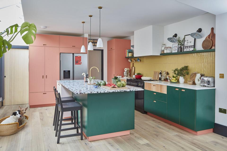 """<p class=""""body-dropcap"""">The kitchen can be the perfect canvas for colour. We're talking punchy hues that, just a few years ago, most people wouldn't have dreamt of committing to kitchen cupboards, but have now become one of the <a href=""""https://elledecoration.co.uk/inspiration/kitchens/g30517250/best-kitchen-ideas/"""" rel=""""nofollow noopener"""" target=""""_blank"""" data-ylk=""""slk:best kitchen ideas for 2021 and beyond"""" class=""""link rapid-noclick-resp"""">best kitchen ideas for 2021 and beyond</a>.</p><p class=""""body-text"""">Satisfying this new-found appetite for colour is an array of kitchen makers, including <a href=""""https://holte.studio/"""" rel=""""nofollow noopener"""" target=""""_blank"""" data-ylk=""""slk:Hølte"""" class=""""link rapid-noclick-resp"""">Hølte</a>, <a href=""""https://www.uncommonprojects.co.uk/"""" rel=""""nofollow noopener"""" target=""""_blank"""" data-ylk=""""slk:Uncommon Projects"""" class=""""link rapid-noclick-resp"""">Uncommon Projects</a>, <a href=""""https://customfronts.co.uk/"""" rel=""""nofollow noopener"""" target=""""_blank"""" data-ylk=""""slk:Custom Fronts"""" class=""""link rapid-noclick-resp"""">Custom Fronts</a> and <a href=""""https://madebyhusk.com/"""" rel=""""nofollow noopener"""" target=""""_blank"""" data-ylk=""""slk:Husk"""" class=""""link rapid-noclick-resp"""">Husk</a> and <a href=""""https://www.pluck.kitchen/"""" rel=""""nofollow noopener"""" target=""""_blank"""" data-ylk=""""slk:Pluck"""" class=""""link rapid-noclick-resp"""">Pluck</a> – the latter's projects often combine two or even three coloured laminates with wood veneers. </p><p class=""""body-text"""">Co-founder of London-based Pluck, George Glasier, believes that people are becoming ever more confident with building a palette for their kitchen. 'On a basic emotional level, colour in the home can be mood enhancing,' he says, noting that greens are the most popular choice for the kitchen, frequently teamed with pinks.</p><p>For anyone wanting to take the plunge, his advice is to eschew trends and think long term: 'It sounds obvious, but you have to like the colour on its own as it's something you will live with for years'.</"""