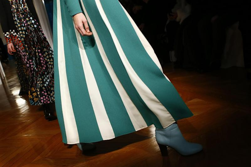 A model wears a creation for Valentino's Fall-Winter 2017/2018 ready-to-wear fashion collection presented Sunday, March 5, 2017 in Paris. (AP Photo/Francois Mori)