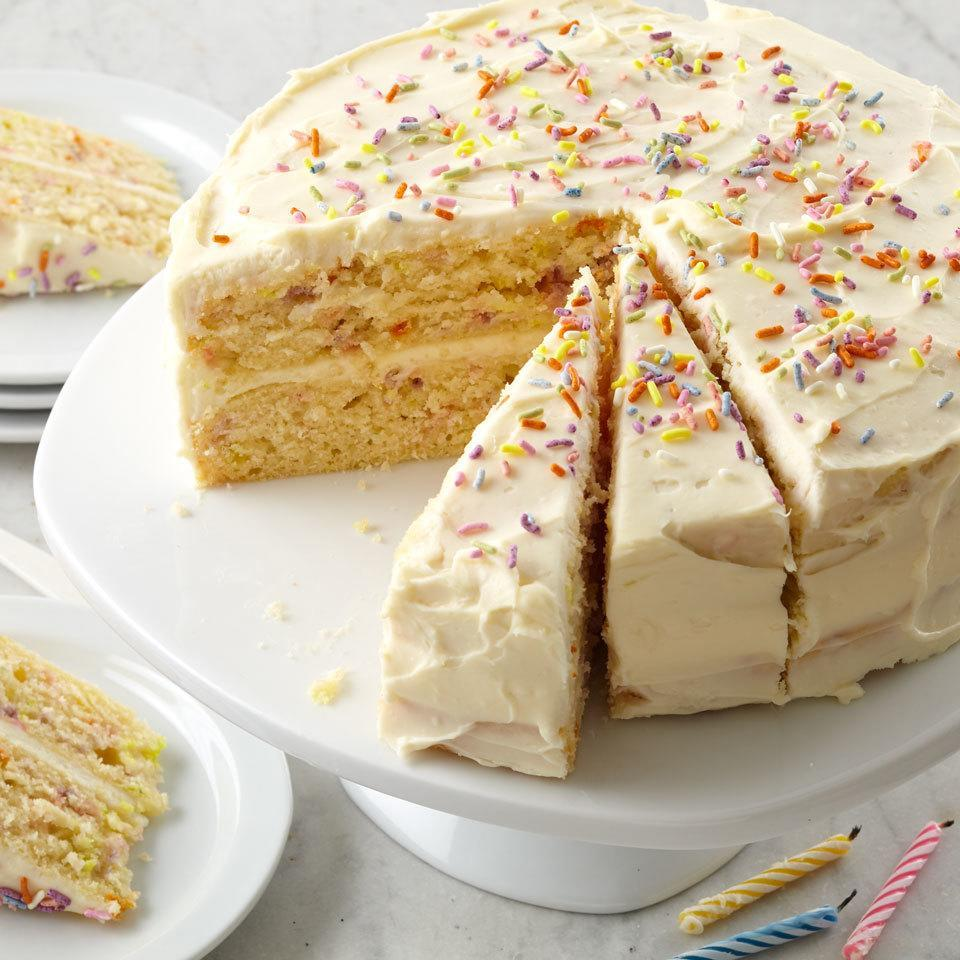 <p>This simple two-layer cake has colored sprinkles baked right in for a fun surprise in every bite, just like a Funfetti cake. It's perfect for birthdays or any occasion that calls for a celebration. Look for naturally colored sprinkles in the baking aisle of your local natural-foods store or find them online.</p>