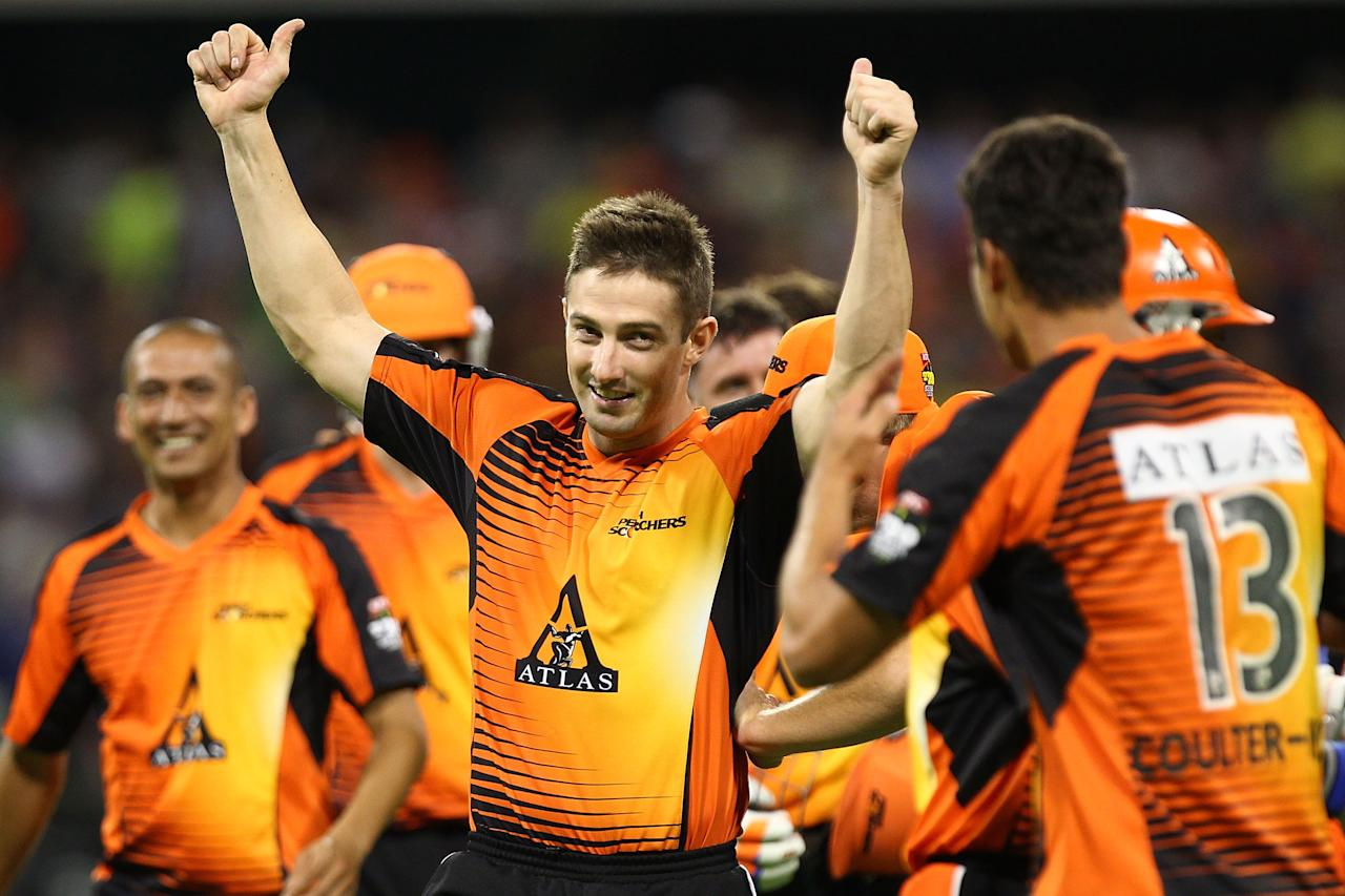 PERTH, AUSTRALIA - JANUARY 16:  Shaun Marsh of the Scorchers celebrates with team-mates after their victory during the Big Bash League semi-final match between the Perth Scorchers and the Melbourne Stars at the WACA on January 16, 2013 in Perth, Australia.  (Photo by Will Russell/Getty Images)