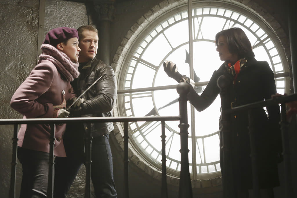 """The Queen is Dead"" - Upon discovering Cora and Regina's plan to find and take possession of Rumplestiltskin's dagger, Mary Margaret, with the aid of David and Mother Superior, makes it her mission to find it first; and while Mr. Gold continues his quest in New York to reunite with son Bae, Hook devises a plan to rid himself of a crocodile. Meanwhile, in the fairytale land that was, the Blue Fairy offers Snow White an unconventional enchantment that could help save her dying mother, Queen Eva, on ""Once Upon a Time."""