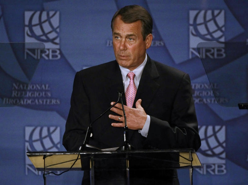 House Speaker John Boehner, R-Ohio, speaks at the National Religious Broadcasters convention on Sunday, Feb. 27, 2011, in Nashville, Tenn. In his speech, Boehner made his case for the GOP plan to prevent a shutdown of the federal government. (AP Photo/Mark Humphrey)