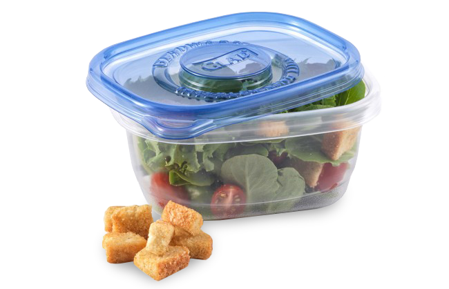 "Glad Soup & Salad container, <a href=""https://www.amazon.com/Glad-Food-Storage-Containers-Salad/dp/B000RA6GMY?tag=%7Btag%7D"" target=""_blank"">$2.75 for five on Amazon</a>"