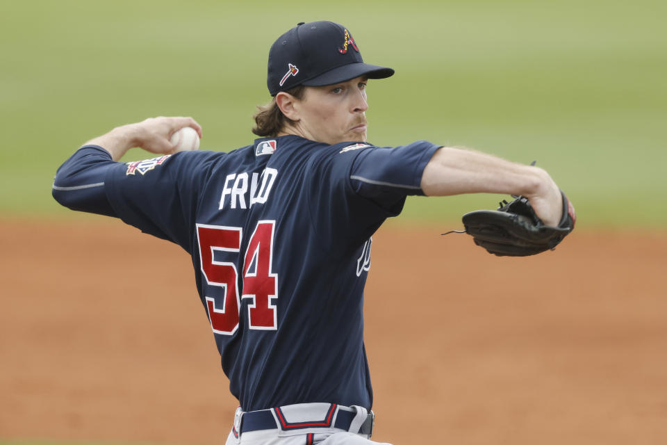PORT CHARLOTTE, FLORIDA - MARCH 21: Max Fried #54 of the Atlanta Braves delivers a pitch against the Atlanta Braves during the third inning of a Grapefruit League spring training game at Charlotte Sports Park on March 21, 2021 in Port Charlotte, Florida. (Photo by Michael Reaves/Getty Images)