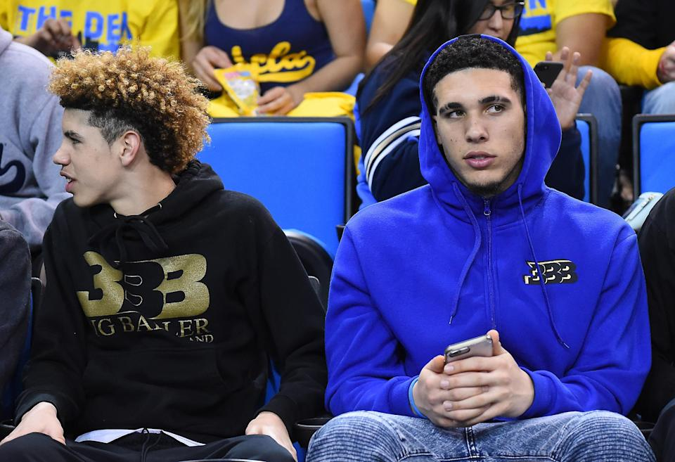 LaMelo (L) and LiAngelo Ball are headed to play professionally overseas. (Getty)