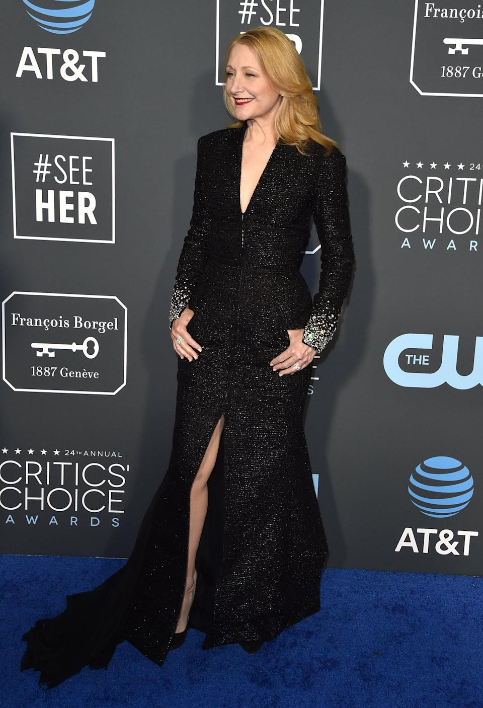 <p>Patricia Clarkson wearing a black Georges Chakra Couture gown and Casadei heels.</p>