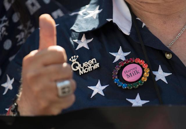 <p>San Diego, Calf., City Commissioner Nicole Murray Ramirez gives the thumbs up and wears a Harvey Milk pin and a Queen Mother pin during the Equality March for Unity and Pride in Washington, Sunday, June 11, 2017. (Photo: Carolyn Kaster/AP) </p>