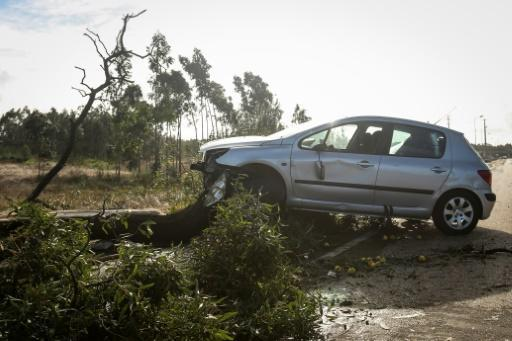 The region around capital Lisbon and the centre of the country at Coimbra and Leiria were worst hit with trees uprooted, cars and houses damaged and local flooding reported