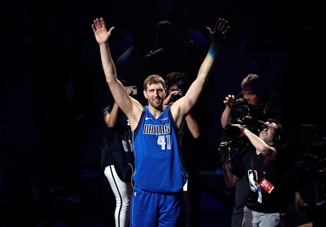 Dirk Nowitzki announced his retirement from the Dallas Mavericks after Tuesday's home finale. (AP)