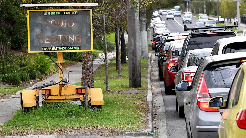 People, pictured here queuing in their cars at a Covid-19 testing station in Melbourne.