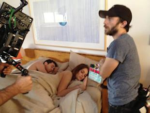 Behind the camera filming sex scene