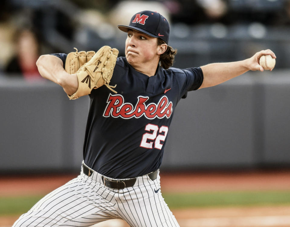 Mississippi's Ryan Rolison pitches against Eastern Illinois during an NCAA college baseball in Oxford, Miss., Friday, March 9, 2018. (Bruce Newman/Oxford Eagle via AP)