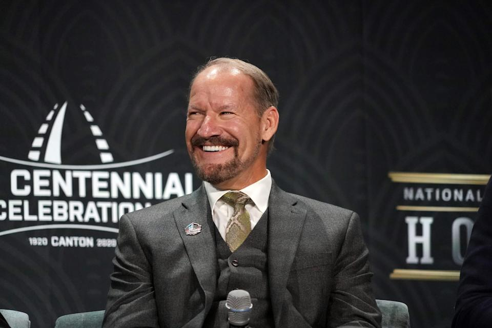 Hall of Fame inductee Bill Cowher speaks to the media Feb. 1, 2020 in Miami.