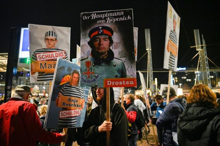 Part of Saturday's demonstration in Leipzig