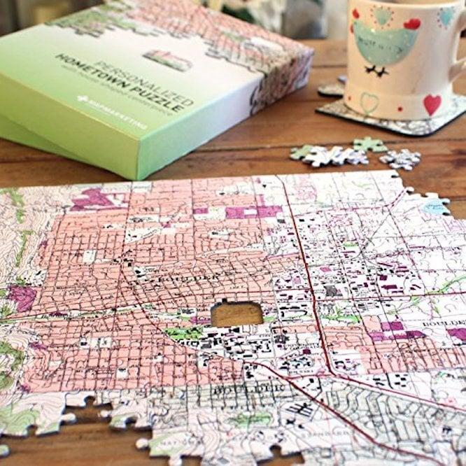 "<p>They will think you are so thoughtful for giving them this custom <span>Personalized ""My Hometown"" Map Jigsaw Puzzle</span> ($40).</p>"
