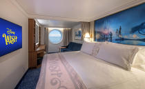 <p>With an all-new look and feel steeped in enchantment and inspired by dreamy Disney stories, every stateroom on board the Disney Wish designed with ample room for families, plenty of storage and upscale amenities. Ninety percent of the ship's 1,254 staterooms will offer an ocean view. (Disney)</p>