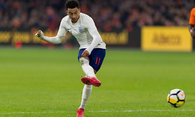 Jesse Lingard guides his shot home to give England their 1-0 victory against the Netherlands.