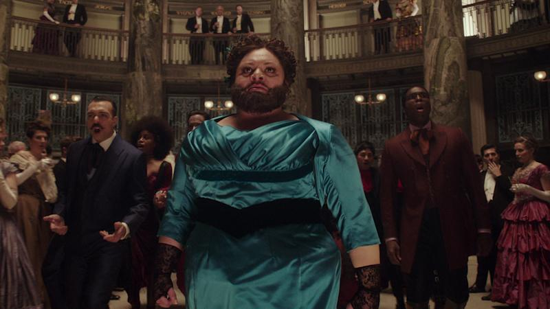 Keala Settle plays the Bearded Lady, unofficial leader of the Oddities, Barnum's freak show (20th Century Fox)