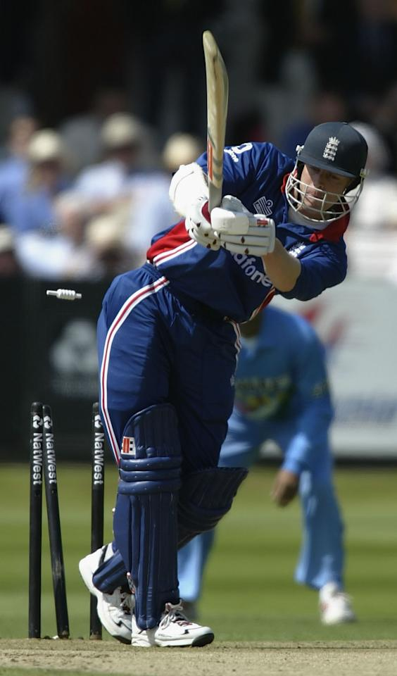 LONDON, ENGLAND - JULY 13:  Nick Knight of England is clean bowled by Zaheer Khan of India during the match between England and India in the NatWest One Day Series Final at Lord's in London, England on July 13, 2002. (Photo by Clive Mason/Getty Images)