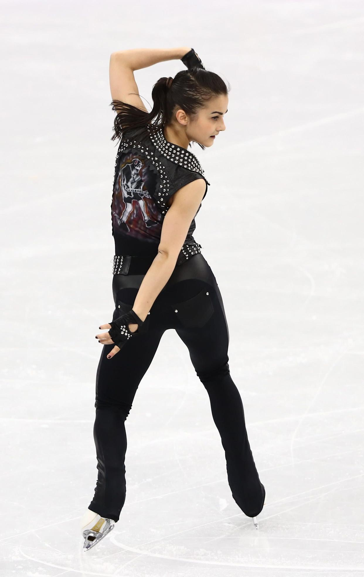 The Hungarian skater comes in a close second for this ensemble, which she wore forherwomen's short program.The biker-inspired look was perfect for her routine to a collection of AC/DC classics.