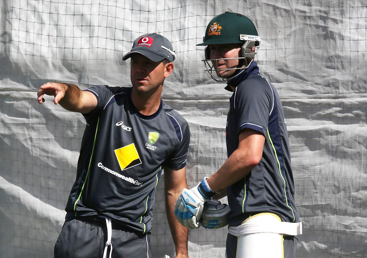 ADELAIDE, AUSTRALIA - NOVEMBER 20: Ricky Ponting and Michael Clarke talk during an Australian training session at Adelaide Oval on November 20, 2012 in Adelaide, Australia.  (Photo by Regi Varghese/Getty Images)