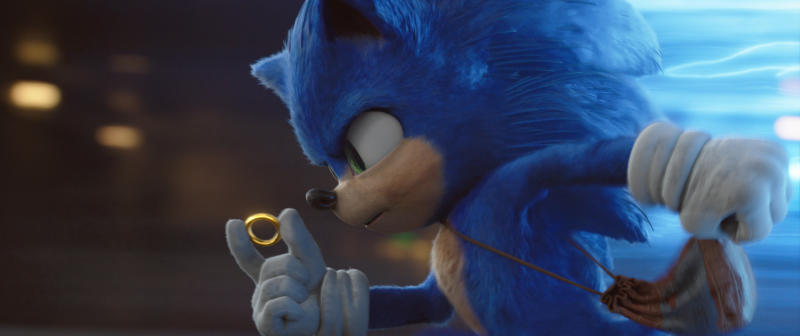 "This image released by Paramount Pictures shows Sonic, voiced by Ben Schwartz, in a scene from ""Sonic the Hedgehog."" (Paramount Pictures/Sega of America via AP)"