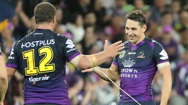 Billy Slater came off the bench in the first half as Melbourne Storm made it three wins out of three in a thriller on Thursday.