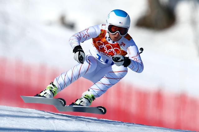 SOCHI, RUSSIA - FEBRUARY 15: Julia Mancuso of the United States in action during the Alpine Skiing Women's Super-G on day 8 of the Sochi 2014 Winter Olympics at Rosa Khutor Alpine Center on February 15, 2014 in Sochi, Russia. (Photo by Doug Pensinger/Getty Images)