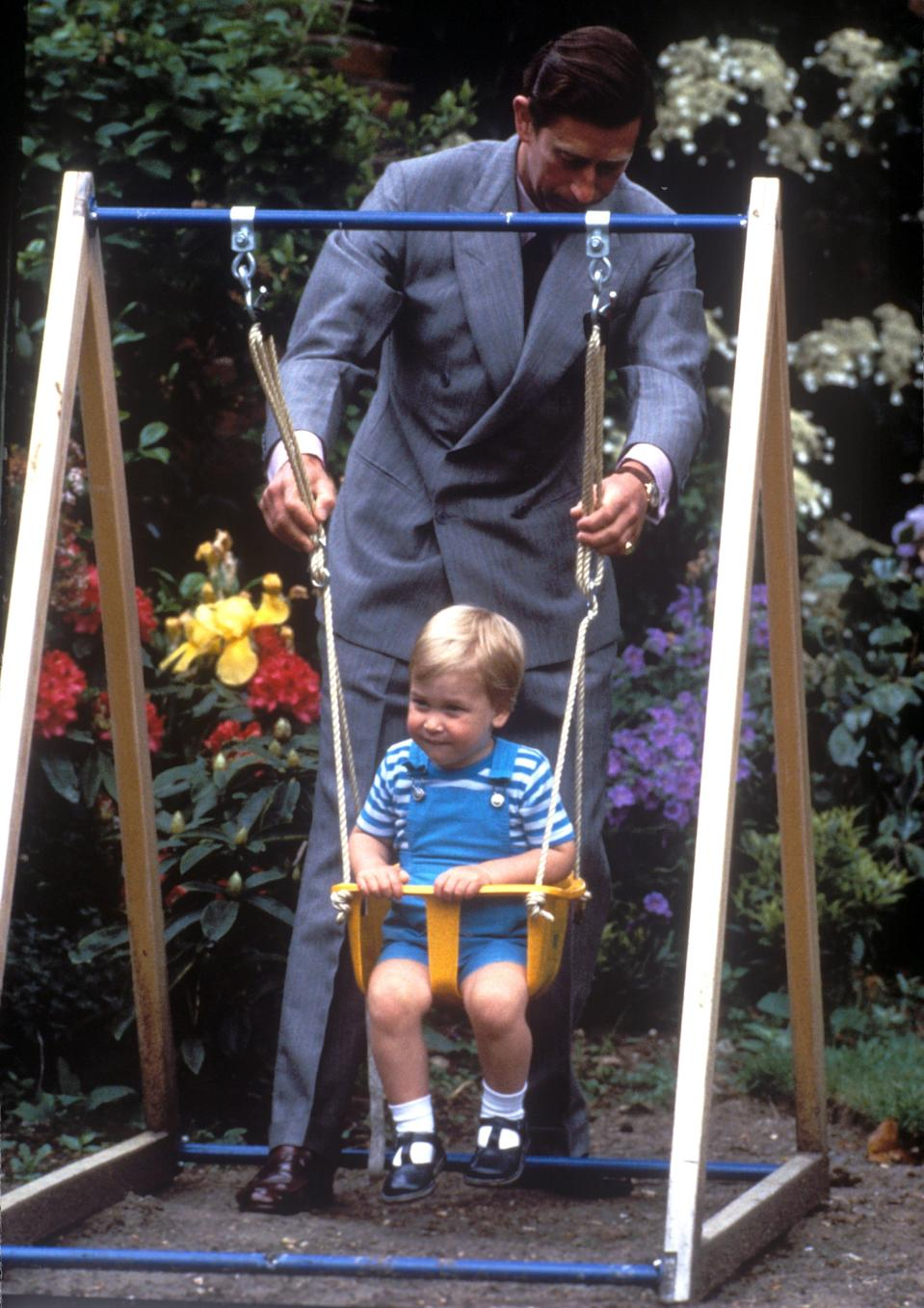 Prince Charles pushes a young Prince William on a swing