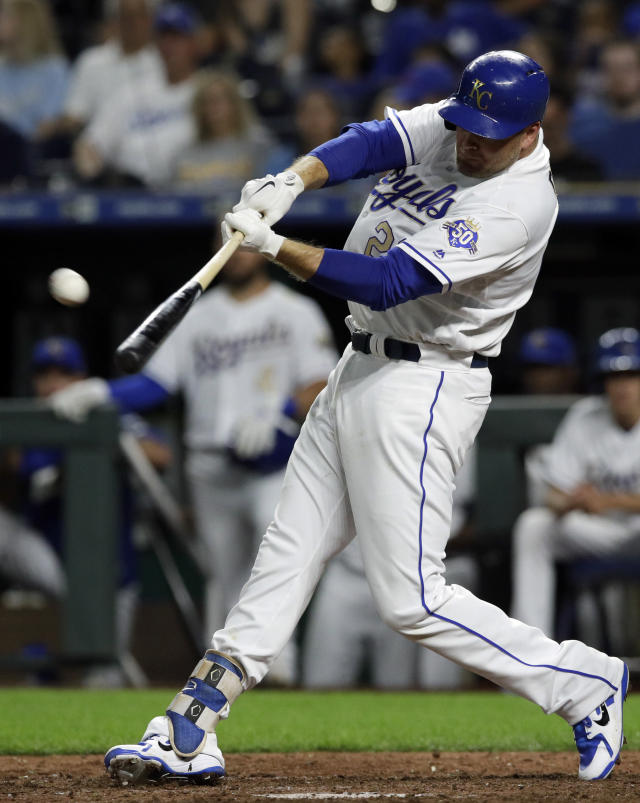 Kansas City Royals' Lucas Duda hits a solo home run off Minnesota Twins starting pitcher Kyle Gibson during the sixth inning of a baseball game at Kauffman Stadium in Kansas City, Mo., Friday, July 20, 2018. (AP Photo/Orlin Wagner)