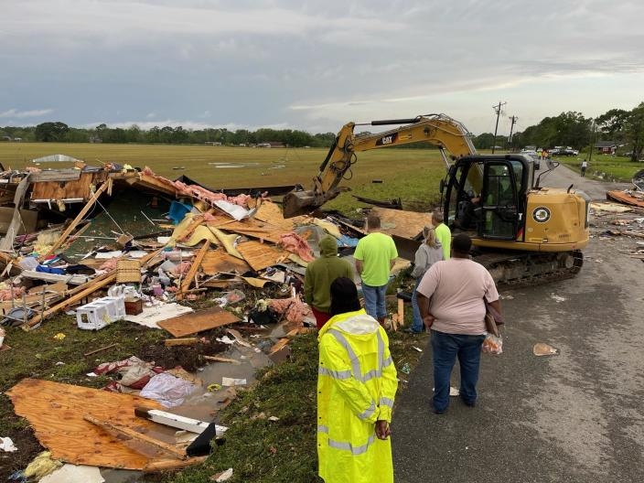 Debris is cleared after at least one tornado touched down in St. Landry Parish, Louisiana, on April 9, 2021. / Credit: Layne Herpin of St. Landry Parish Government.