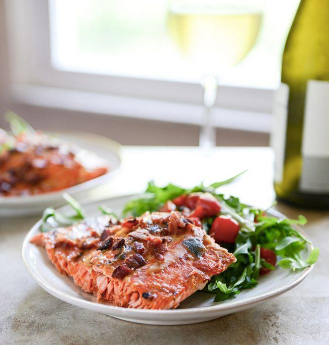 """<strong>Get the <a href=""""http://www.howsweeteats.com/2013/07/easy-grilled-maple-dijon-salmon-with-bacon/"""" target=""""_blank"""">Easy Grilled Maple Dijon Salmon with Bacon recipe</a> from How Sweet It Is</strong>"""