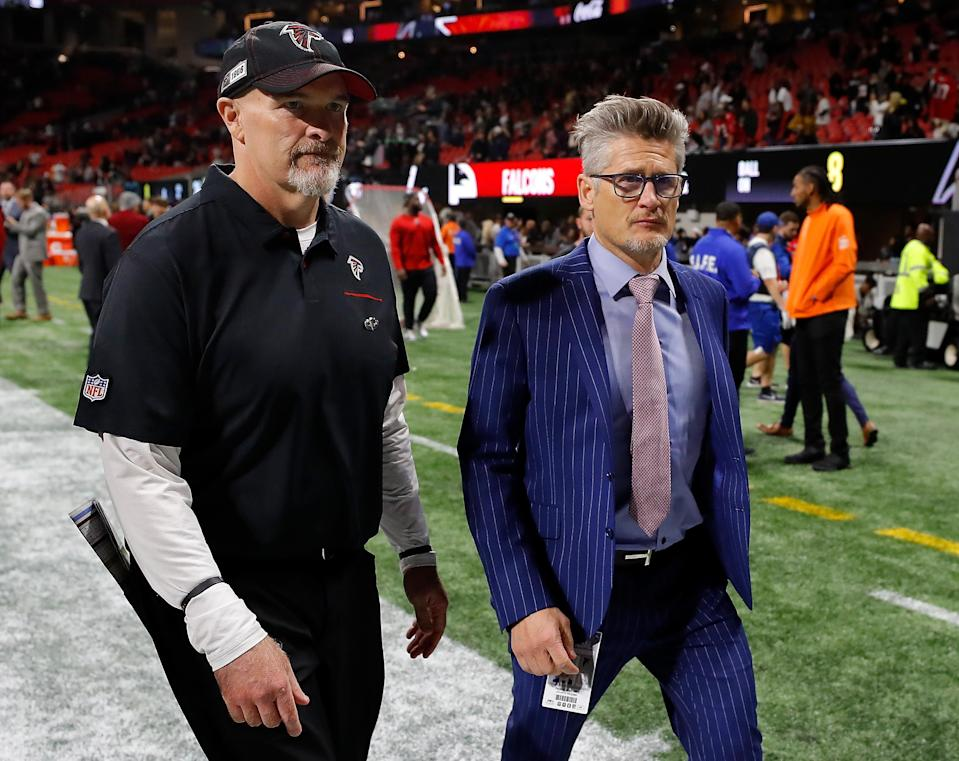 Atlanta Falcons head coach Dan Quinn and general manager Thomas Dimitroff took part in a protest march over the weekend. (Kevin C. Cox/Getty Images)