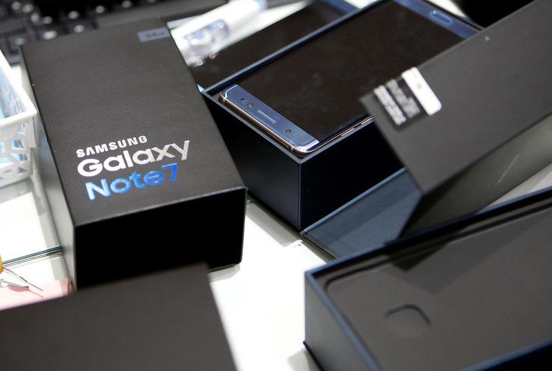 FILE PHOTO - An exchanged Samsung Electronics' Galaxy Note 7 is seen at the company's headquarters in Seoul