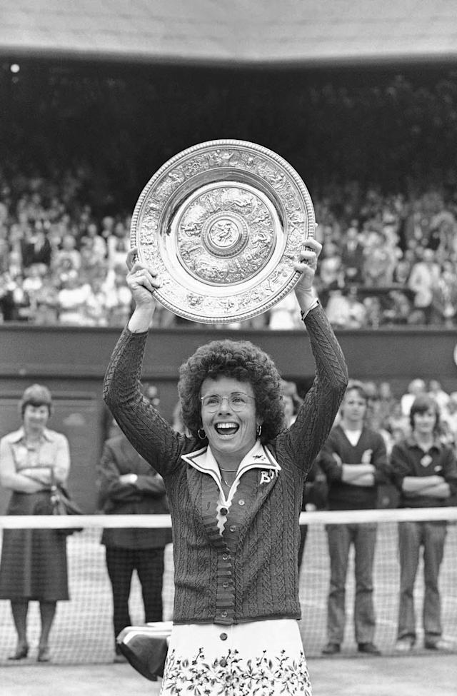 U.S.A. tennis player Billie Jean King holds the winnerís plate after she won the ladies singles final, of the All England Lawn Tennis Championship at Wimbledon on July 4, 1975, for the sixth time. She beat Australiaís Mrs. Cawley (the former Evonn Goolagong) in two straight sets in 38 minutes, with a 6-0, 6-1 scores. (AP Photo)