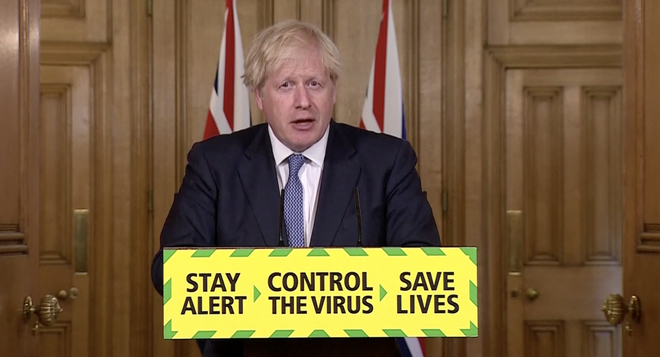 Boris Johnson made the announcement on Friday. (Downing Street)