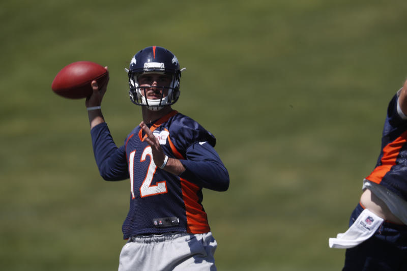Former Denver Broncos quarterback Paxton Lynch (12) will get a shot with the Seahawks. (AP)