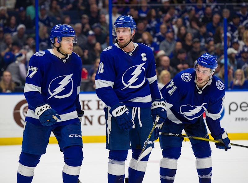 TAMPA, FL - DECEMBER 23: Steven Stamkos #91, Mitchell Stephens #67, and Anthony Cirelli #71 of the Tampa Bay Lightning skates against the Florida Panthers during the second period at Amalie Arena on December 23, 2019 in Tampa, Florida (Photo by Mark LoMoglio/NHLI via Getty Images)