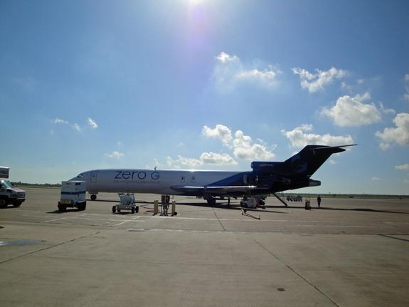 G-Force One, a Zero Gravity Corporation jet for weightless flights, sits at Ellington Field in Houston awaiting a NASA microgravity flight on July 18, 2013.