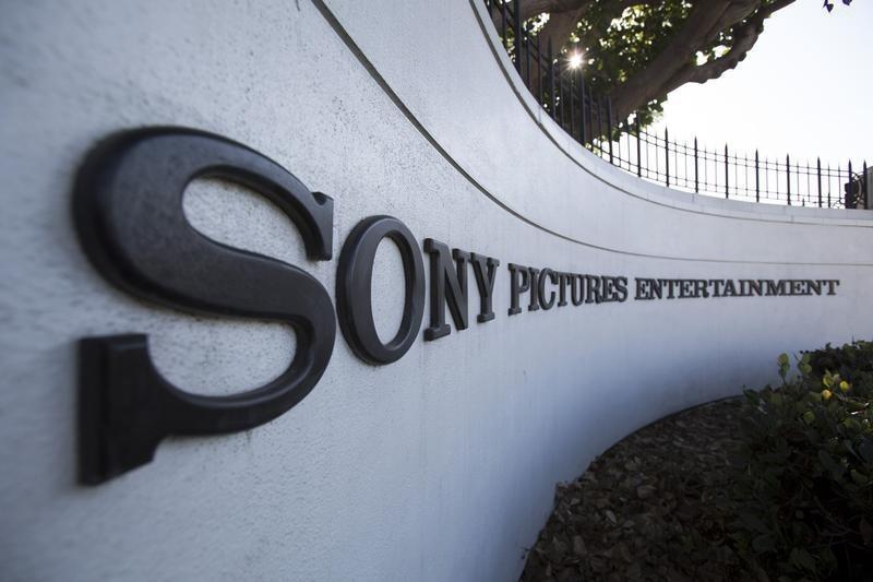A logo is pictured outside Sony Pictures Studios in Culver City