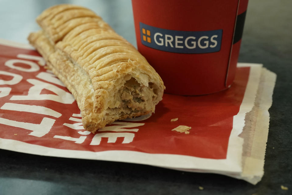 Taste for it: A Greggs vegan sausage roll lays on a table on January 06, 2019 in Manchester, England. Photo: Christopher Furlong/Getty Images.