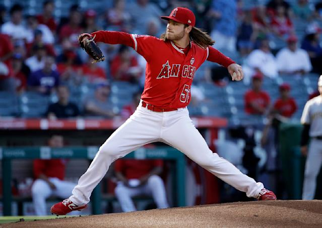 Los Angeles Angels starting pitcher Dillon Peters throws to a Pittsburgh Pirates batter during the first inning of a baseball game Wednesday, Aug. 14, 2019, in Anaheim, Calif. (AP Photo/Marcio Jose Sanchez)